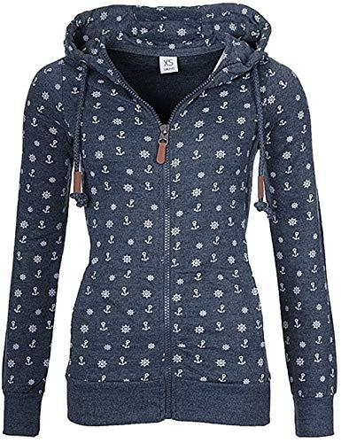 Newbestyle Sweatjacke Damen Pullover Jacke Hoodie V Ausschnitt Pulli Sweatshirt Kapuzenpullover Print Oberteile mit Kordel und Zip (Dunkelblau, M)