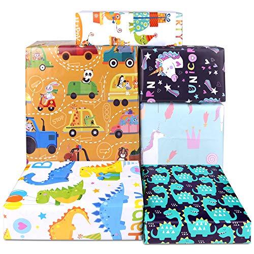 PLULON 6 Blätter Geschenk Geschenkpapier Geburtstag, Jungen Dinosaurier Mädchen Einhorn Geschenkpapier für Kinder präsentieren Geburtstagsfeier und Baby Dusche