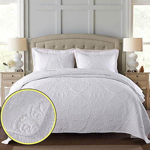 Colcha blanca acolchada Súper King Size Cubierta de cama en relieve 3 piezas Cubierta de algodón 100% con fundas de almohada Manta de cama reversible Tira (250x270cm),250 * 270cm
