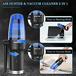 Cordless Air Duster for Computer Keyboard Cleaning & Vacuum 2-in-1, Replaces Compressed Canned Air Spray Blower, Handheld Vacuum Cleaner, Rechargeable 6000 mAh Battery and Powerful 60000RPM Motor