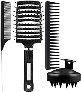 4Pcs Paddle Hair Brush, Shampoo Brush Scalp Massager, Detangling Brush and Hair Comb Set for Men and Women, Great On Wet o...