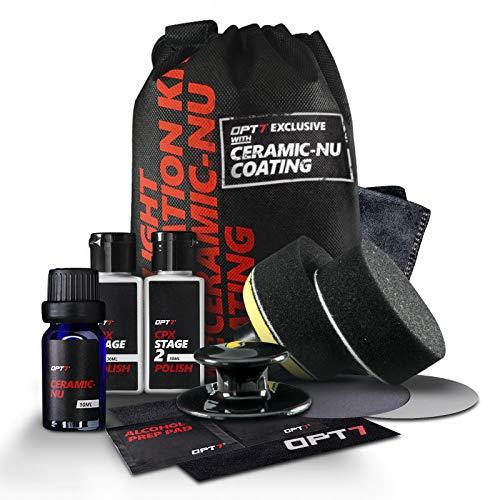 OPT7 Headlight Restoration Kit w/excl Ceramic Nu Coating – Professional Detailers Grade –Lens Polisher Drill Set.