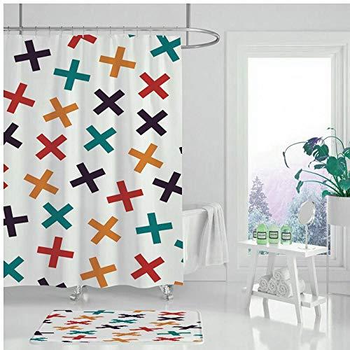 XCBN Cortina de Ducha Impermeable Pintura geométrica Cortina de baño Cortina de Ducha decoración del hogar A8 180x200cm