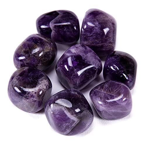 Bingcute Brazilian Tumbled Polished Natural Amethyst Stones 1/2 Ib for Wicca, Reiki, and Energy Crystal Healing (Amethyst)
