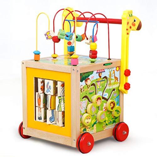 YUEBAOBEI Puzzle Trolley Holzspielzeug Laufender Puzzle Trolley 7 in 1 Babyspielzeug Lernspielzeug Ab 1 2 3 Jahre Altes Mädchen Junge