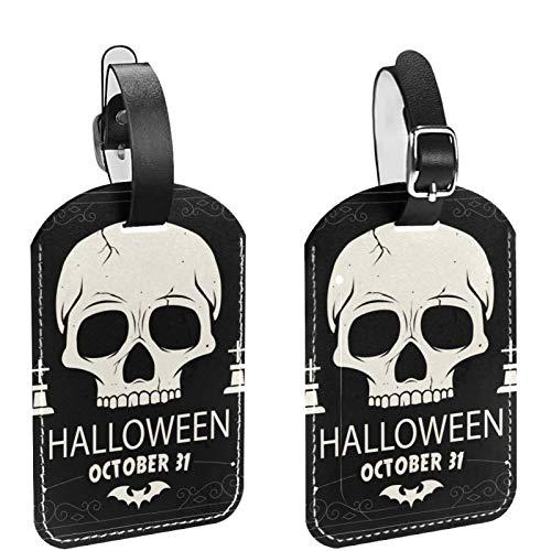 2 paquetes de etiquetas flexibles para equipaje de viaje para bolsas de equipaje, maletas, bolsas escolares, etiquetas de identificación de nombre para viajes, calavera oscura, Halloween, 01