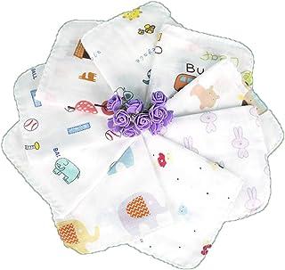 ガーゼハンカチ タオル 2重ダブルガーゼ生地 赤ちゃんガーゼハンカチ 100%コットン 30×30cm 蛍光剤なし ハンドメイド (5柄5枚セット)