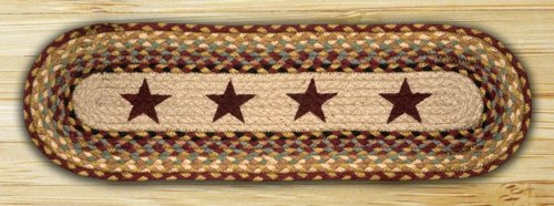 Earth Rugs 8.25' x 27' Oval Printed Braided Stair Treads (Set of 13) (Burgundy Stars)