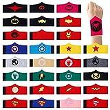 HONGXIN-SHOP Pulseras de Superhéroe para Niños y Niñas Brazalete de Navidad Halloween Fieltro de Superhéroe para Fiesta de Cumpleaños de Superhéroe Paquete de 30
