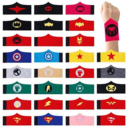 HONGXIN-SHOP Superhero Armband Filz Superhero Armreif Zubehör Handschlaufe für Kinder Jungen und Mädchen Superhero Birthday Halloween Weihnachten Party Supplies 30 Pack