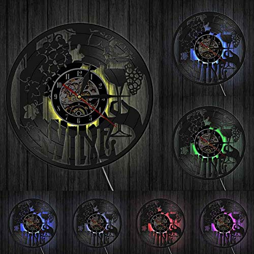 Reloj de pared con logotipo de vino, botella de cristal, uva, vid, bebida, alcohol, licor, bar, etiqueta, emblema de vinilo, reloj de pared, luces LED