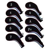 アイアンカバー 10個セット クッション素材 ファスナー タイプ 刺繍 ゴルフ クラブ アイアン カバー ヘッドカバー (スカイブルー(レッドライン))