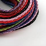 Perlin - Leder Halsband Halskette 20stk Schmuckband Kette mit Karabinerverschluss und Verlängerungskette Band Geflochtet Halsketten für DIY Schmuck Herstellung C62 x2