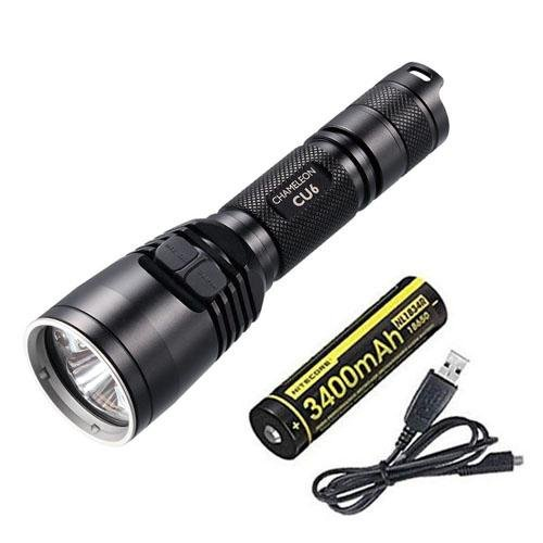 Combo: Nitecore Chameleon CU6 Ultraviolet LED Flashlight -440 Lumens w/ NL1834R Battery +Free Eco-Sensa Charging Cord