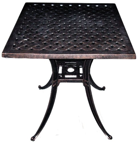 "ATC Design Antique Bronze Solid Cast Aluminum Square Table, 24"" L x 24"" W x 28"" H"