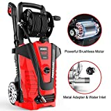 iRozce Pressure Washers, 3045PSI 2.2GPM Max Electric Power Washer with On-board Hose Reel, Metal Adapter, Adjustable Nozzle, Build-in Detergent Tank for Driveway, Cars washing, Red