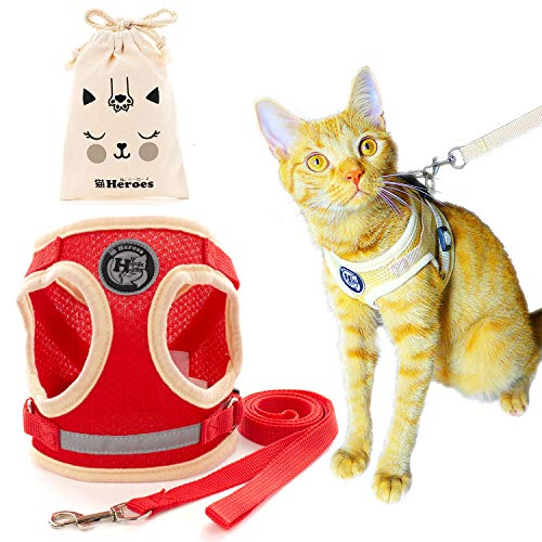 猫Heroes 猫用 ハーネス リード おでかけ 散歩 ねこ 首輪 抜けない 収納袋付き 【いつでもシリーズ】 (S, ヒーローレッド(赤))