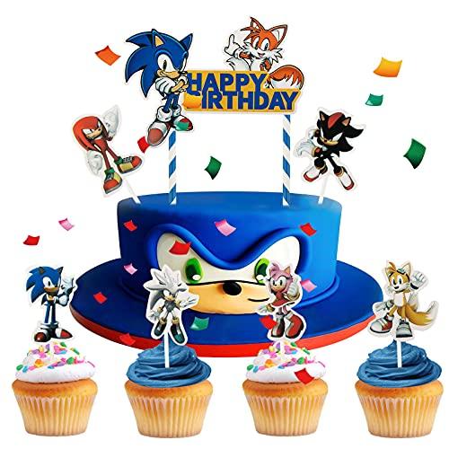 Yisscen Cake Topper, Sonic The Hedgehog Cupcake Topper, Benutzt für Kinder Kuchendekoration, Muffins, Dessert, Halloween, Weihnachts, Kuchen Picks Dekorationen(25 Stück)