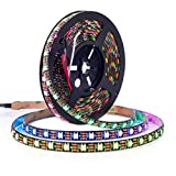 BTF-LIGHTING WS2812B ECO RGB Alloy Wires 5050SMD Individual Addressable 16.4FT 60Pixels/m 300Pixels Flexible Black PCB Full Color LED Pixel Strip Dream Color IP65 Waterproof DIY Projects Only DC5V