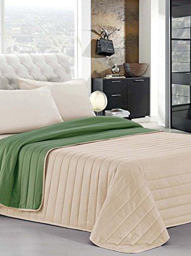 Italian Bed Linen Estivo Matrimoniale, Verde Scuro/Panna, 260 x 270 cm