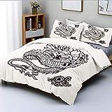 Juego de funda nórdica, estilo artístico del tatuaje, figura de dragón mitológico, diseño monocromático de reptil, juego de cama decorativo de 3 piezas con 2 fundas de almohada, blanco negro, el mejor