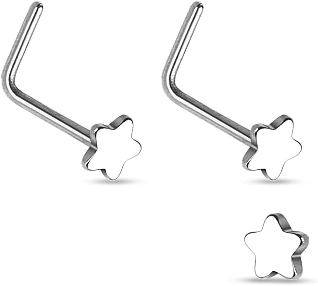 Forbidden Body Jewelry 20g Surgical Steel Star Top L-Shaped Nose Stud (Choose Quantity/Color)
