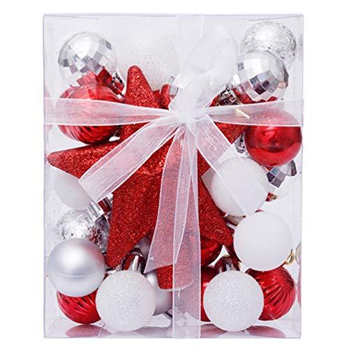 TOYANDONA 30Pcs Christmas Shatterproof Ball Glitter Christmas Tree Topper for Christmas Holiday Tree Ornaments Decoration