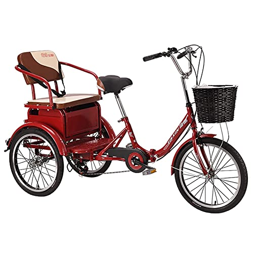 FHISD Adult Tricycle 20-Inch Variable Speed Cruiser Bicycle Pedal-Type Human 3-Wheel Bicycle That Can Carry People Adult Bicycle Riding Bicycle with Shopping Basket Adult and Elderly Use