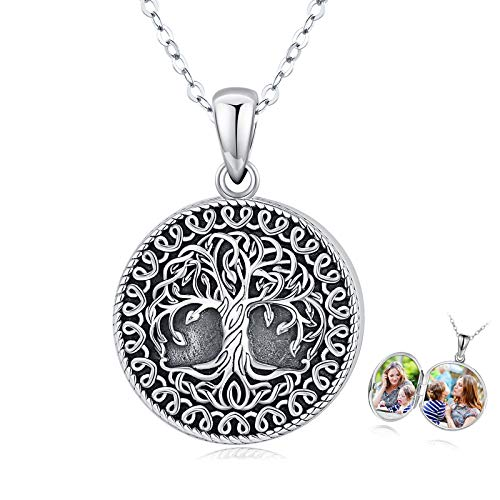 Holds Pictures Locket Necklace Tree of Life Necklace Sterling Silver Family Tree Locket Necklace That Holds Pictures Vintage Oxidized Celtic Jewelry Gift for Women