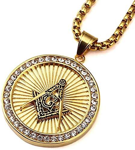 Collar Colgante Collar de cadena Mujeres Hombres Collar Forma redonda Colgante masónico Collares de acero inoxidable Hip hop Joyería masculina Colores dorados Personalidad Accesorios de tela Regalo