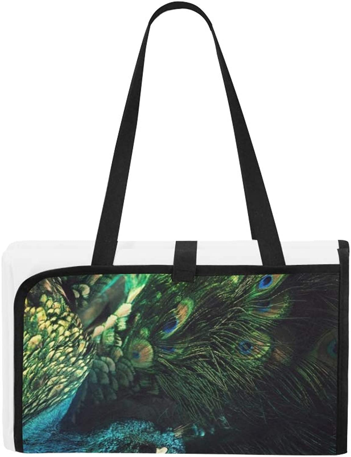 Abstract Image Peacock Among Feathers Dark Portable and Foldable Blanket Mat 60x78 Inch Handy Mat for Camping Picnic Beach Indoor Outdoor Travel