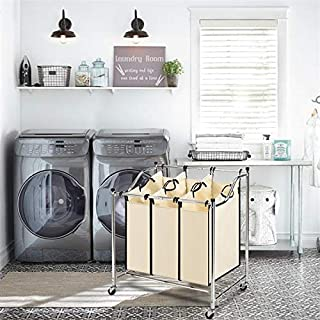 Wrea Laundry Basket,3/4 Bags Laundry Sorter Laundry Hamper with 4 RollingWheels Washing Basket Laundry Bin for Sort Clothes Laundry sorter for Bathroom Bedroom use (with 3 Laundry Bags)