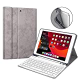 Fintie Tastatur Hülle für iPad 10.2 Zoll 7. Generation 2019, Soft TPU Rückseite Gehäuse Schutzhülle mit Pencil Halter, magnetisch Abnehmbarer Bluetooth Tastatur mit QWERTZ Layout, Silber Grau