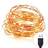 Quace Copper String Led Light 10M 100 LED USB Operated Wire Decorative Fairy Lights Diwali Christmas Festival - Warm White