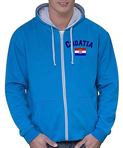 Coole-Fun-T-Shirts Kroatien Sweatshirtjacke Varsity Jacke Sky-grau, Gr.XL