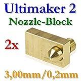 2x Ultimaker 2latón bloque con boquilla 0,2mm para 3,00mm