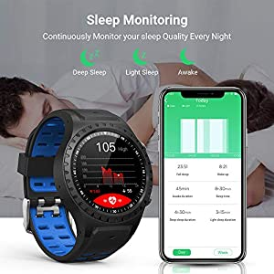Updated GPS Smart Watch for Men Naturehike M1 Blue Health Smartwatch Sleep Monitor Tracker Step Counter Compatible with Android and iOS Phone