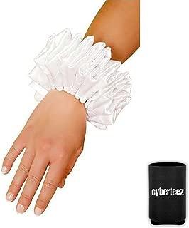 Harley Quinn Jester Clown White Ruffled Wrist Cuffs Accessory Set + Can Coolie