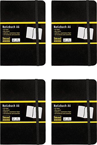 Idena Notizbuch A6, 192 Seiten mit Innentasche und Lesezeichen, 80 g/m², FSC, schwarz (4, A6 kariert)