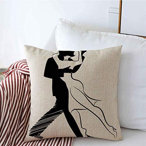 Csoos Kissenbezüge Tango Hut Tanz isoliert Mann Design Frau Symbol Paar Tanzen Menschen Sport Erholung Romantische Kissenbezug