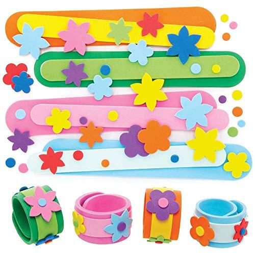 Baker Ross AX886 Flower Slap Bracelets - Pack of 4, Kids Jewellery Making Craft Kits, Slap Bands Great for Children's Party Bag Fillers or Kids Pocket Money Toys