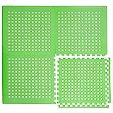 EYEPOWER Alfombra Puzle Perforada con Agujeros para Drenaje Agua Piscina Ducha | Suave Goma EVA 1cm de Espesor Antideslizante 1,59qm Extensible | Verde