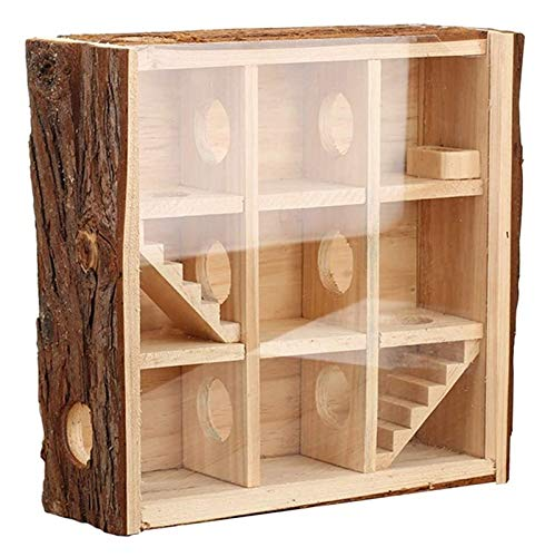 ZHZH Habitat of Love, Hamster Cage Natural Wood Gerbils Play House with Toy Ramps and Food Bowl for Hamsters Gerbils and Mice, Best Care for Small Animals
