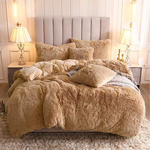 Uhamho Faux Fur Velvet Fluffy Bedding Duvet Cover Set Down Comforter Quilt Cover with Pillow Shams, Ultra Soft Warm and Durable (Queen, Camel)