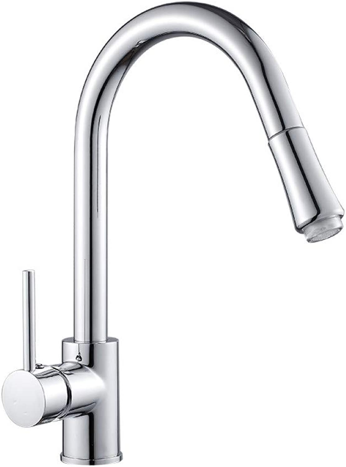 YHSGY Kitchen Taps Copper Kitchen Led Pull-Type Faucet Sink Sink Hot and Cold redating Plating Faucet