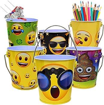 Mini Emoji Office School Supply Storage Bin with Handle for Kids   Emoticon Desktop Metal Bucket Organizer Bins for School and Office Desk  6 Pack