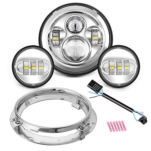 """SUNPIE Motorcycle 7"""" LED Headlight for Harley Road King, Road Glide, Street Glide and Electra Glide,Ultra Limited with 4-1/2 LED Passing Lamps Fog Lights and Bracket Mounting Ring"""