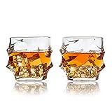 SkySnow® Vasos de Whisky, Juego de 2 Vaso de Vidrio Transparente Sin Plomo, Vasos de Vaso únicos Batidoras de Ron Baileys Vodka Gin