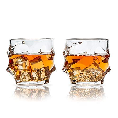 SkySnow® 2er Set Whiskey Gläser, Whisky Gläser, Glasbecher für Wein, Cocktails Oder Saft, Perfekte Einzigartige Bechergläser für Rum Baileys Vodka Gin Mixer