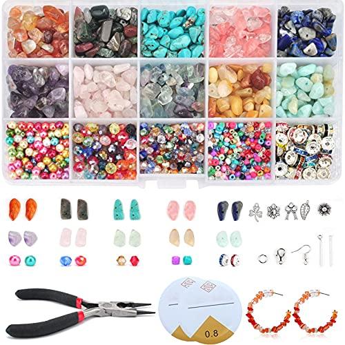 Gemstone Beads,PietreNaturali,PerlineperBigiotteriafaidate,15 Colori Perline di Pietre Preziose, per Gioielli, Collane, Bracciali, Orecchini